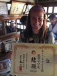 Ecstatic to be holding the certificate of completion of the Shikoku 88 Temple Pilgrimage, at Temple 88.