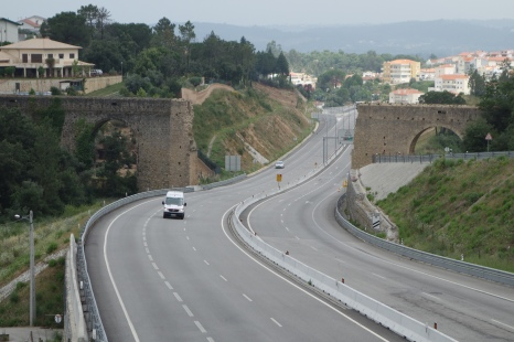 Roman aqueduct cut in half for a highway!
