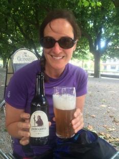 Enjoying a Peregrina beer in Padron