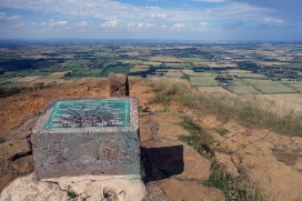 Trig point and the North Sea in the distance