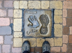 "Emilio Esteves's hand & footprint - they filmed the movie ""The Way"" in this area and at the albergue in Tosantos where I stayed."