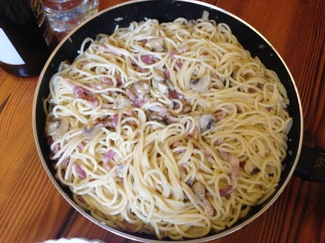 Carbonara dinner, enough for the whole albergue!