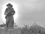 Pilgrim statue near the lighthouse in Finisterre
