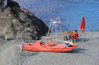 A lifeguard at Monterosso Al Mare