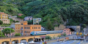 The train pulls into Monterosso Al Mare