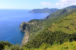 Monterosso Al Mare way in the distance and Corniglia above the train tunnel