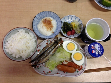 Traditional Japanese breakfast at Sudachi-kan