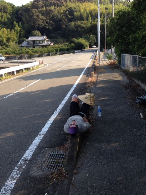 Tired and with a sore back, I actually fell asleep on this concrete barrier!