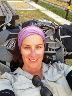 Resting while waiting to put up our tent, I'm exhausted!