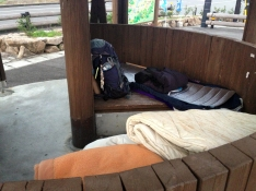A Henro hut in the carpark of Hinanosato services stop, toilets and shops