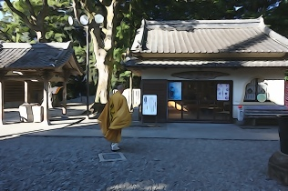 A monk at Temple 24, Hotsumisakiji