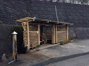 2km before temple 30, called 'kamohara,' toilet and vending machine up the hill in factory, electricity outlet in hut!