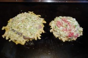 Cooking our okonomiyaki