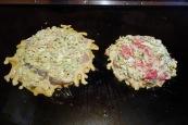 Cooking our okonomiyaki