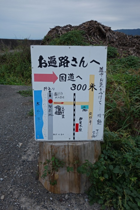 A sign explaining how to get back to the main road (route 55)