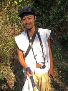 My hero, Masa, who made the snake slither away!