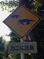 'Kani ni chu-ii' (crab warning sign for cars)