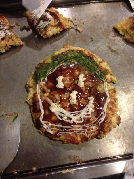 Okonomiyaki... I was trying to entertain Sara (8 yrs old!)