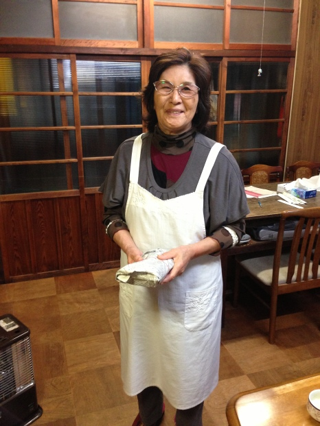 The owner at the ryokan who gave me breakfast and rice balls for lunch as osettai
