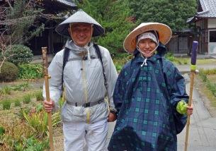 Akiko and her friend at Temple 65, Sankakuji