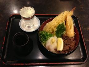 Udon and sake for dinner