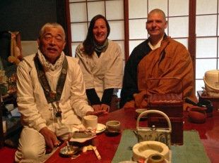 Having tea at Muryokoin temple with Noritake san and Matthias (a German priest)