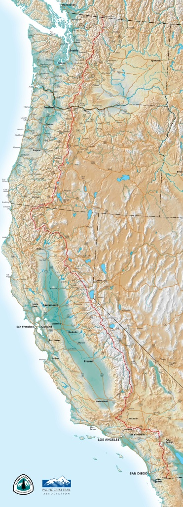 The Pacific Crest Trail Association (PCTA) PCT trail map