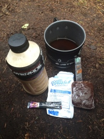 My last breakfast! CB mix with water and a coffee sachet, a hot coffee and brownie from Stehekin