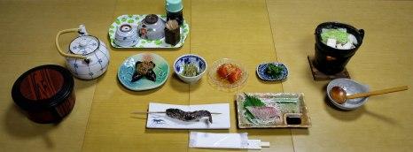 Dinner at Minshuku Nakano, Chikatsuyu