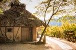 Thatched roof community rest hut in Tsugizakura