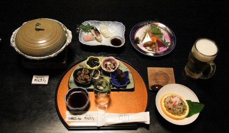 Incredible seafood dinner at Ryokan Momotaro, Furusato, Iseji route