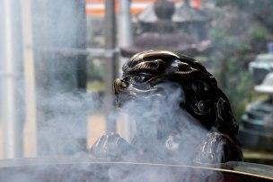Incense burning in front of Nachi Taisha Grand Shrine