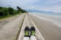 Having a break on the sea wall