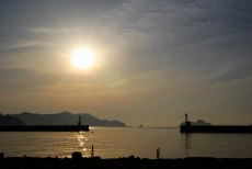 Sunrise over Owase harbour, Iseji route