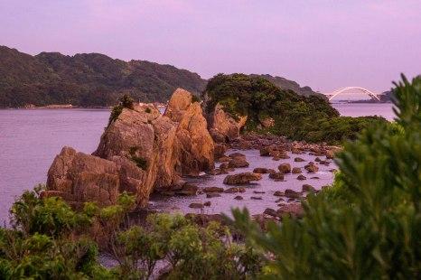 Hashigui iwa rocks at dusk, Kushimoto, Ohechi route