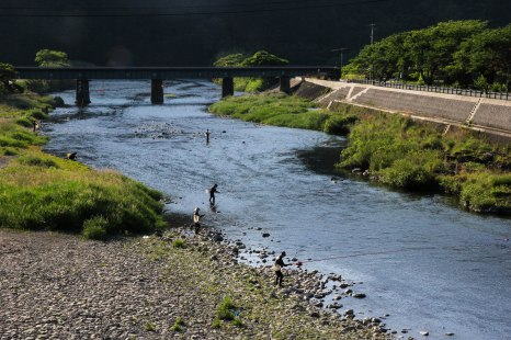 Fisherman in the Ouchiyamagawa river, Iseji route