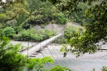 Yanagimoto Bashi Suspension bridge near Totsukawa Onsen on the Kohechi trail