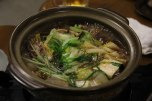 Wild boar hotpot for dinner at Minshuku Kawarabi-so, Omata