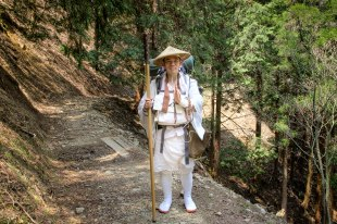 This man had just walked the Shikoku 88 Temple pilgrimage and was now on his way from Koyasan to Hongu
