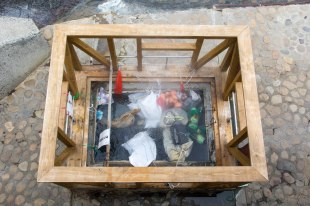 Onsen water that people use to boil eggs and other food in Yunomine Onsen