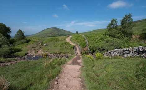 The winding trail up Conic Hill