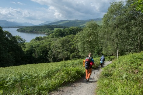 Hikers heading around Loch Lomond