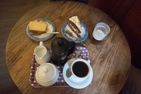Taking refuge from the rain with cake and coffee at the Inveroran Hotel