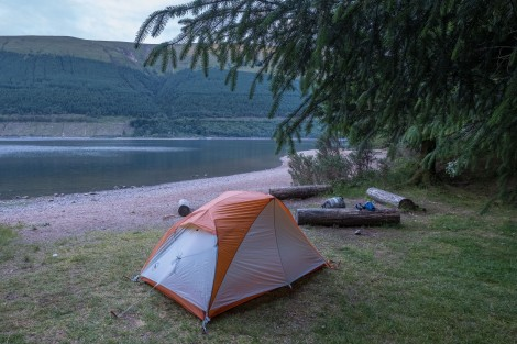 Home for the night at Glas-dhoire wild campsite beside Loch Lochy