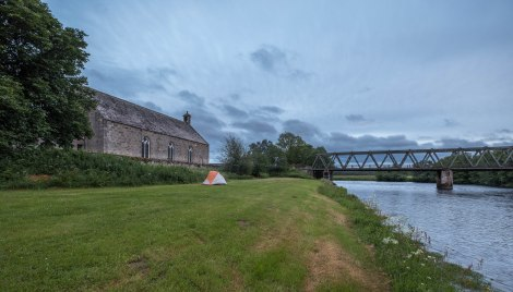 Camping by the River Spey in Cromdale