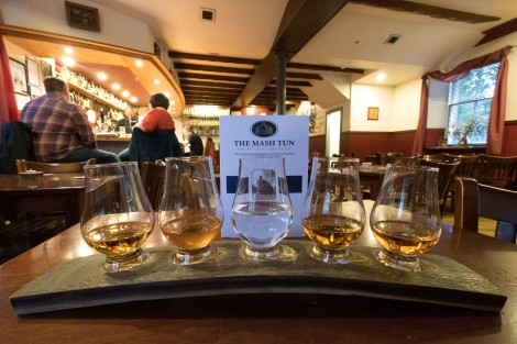 Whisky flight at the Mash Tun pub