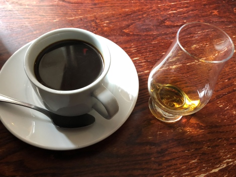 Celebrating with a coffee and dram of whisky at the Castle Tavern