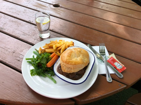 A steak and ale pie for lunch at the Oak Tree Inn in Balmaha