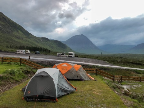 Our two-man Big Agnes tent (the grey/white one) at Glencoe Mountain Resort