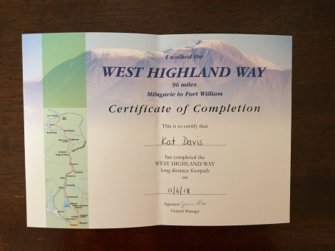 My Certificate of Completion of the West Highland Way